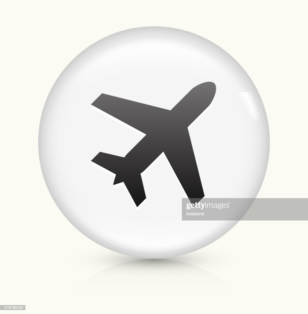 Airplane icon on white round vector button