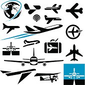 Airplane icons. Plane.