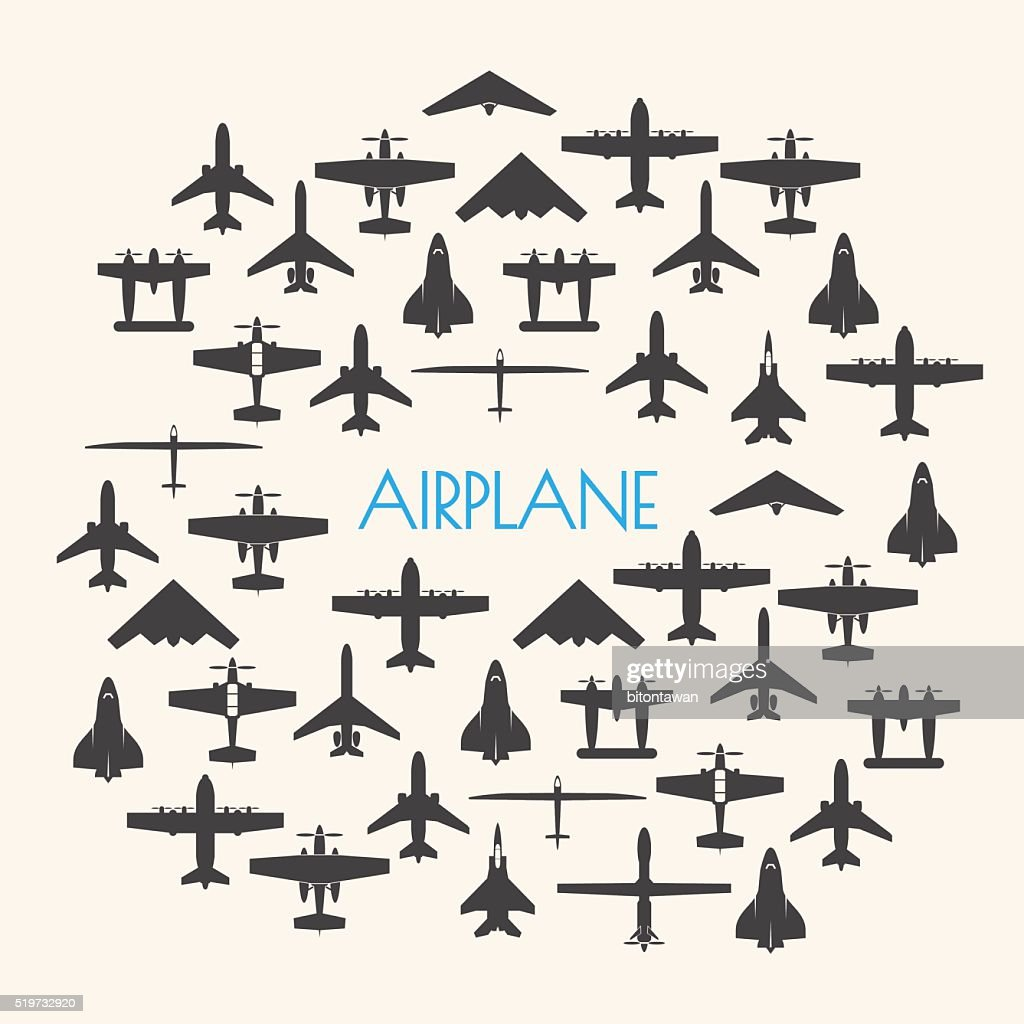 airplane icons set and Background