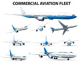 Airplane in different positions for commercial aviation fleet