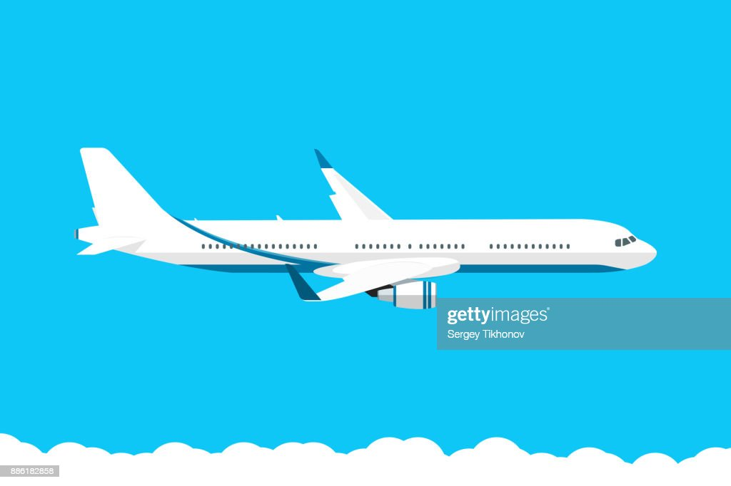 Airplane in the blue sky vector illustration