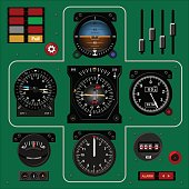 Airplane instrument panel. Aircraft dashboard. Realistic background