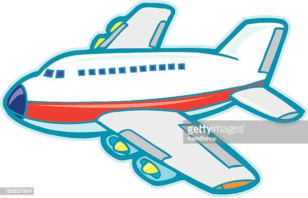 airplane jet cartoon - air travel stock illustrations, clip art, cartoons, & icons