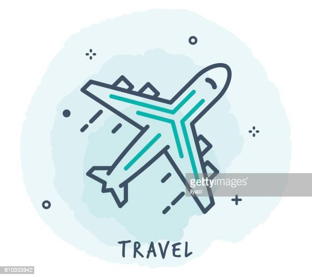 airplane line icon - business travel stock illustrations, clip art, cartoons, & icons