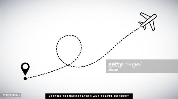 airplane line path vector design. transportation and travel concept. - point scoring stock illustrations