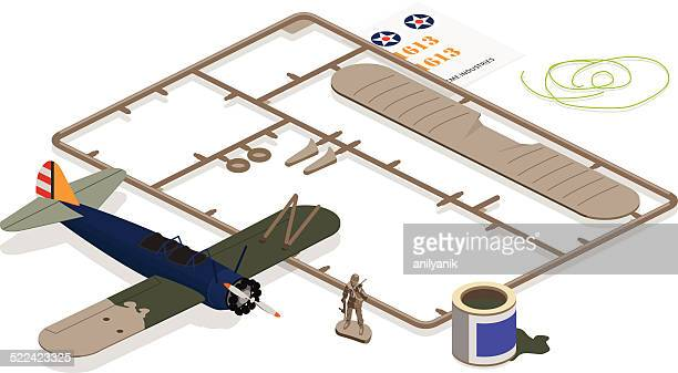 airplane model - army soldier toy stock illustrations