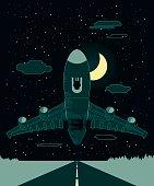 Airplane Night Take Off