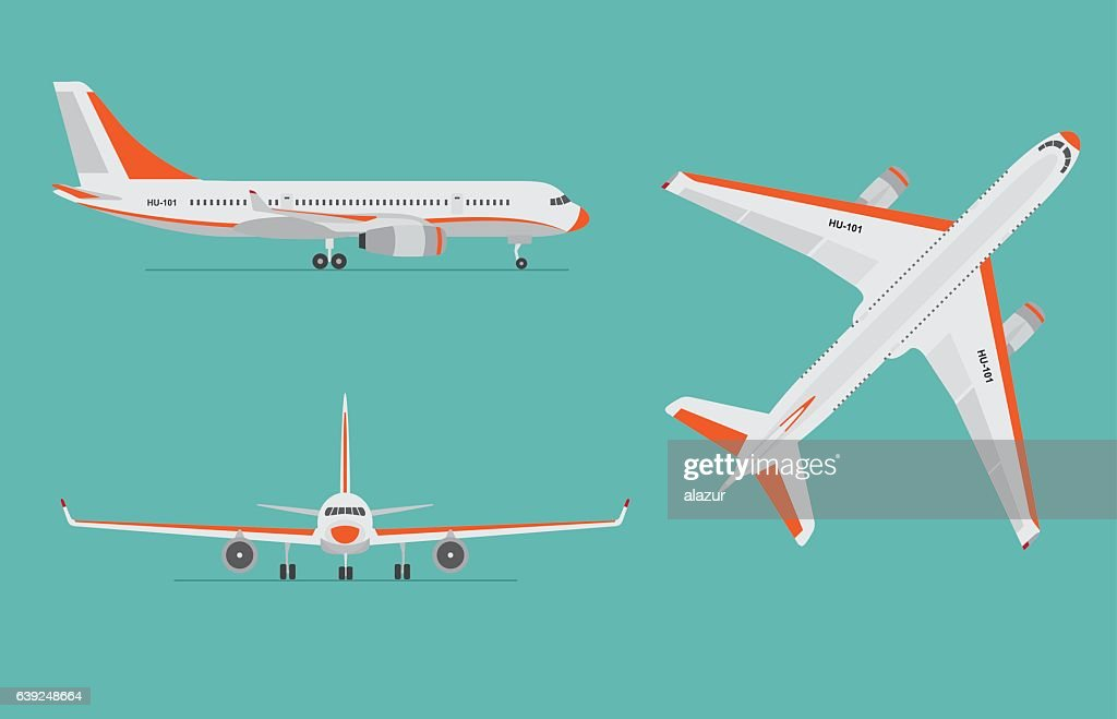 Airplane on blue background. Airliner in top, side, front view.