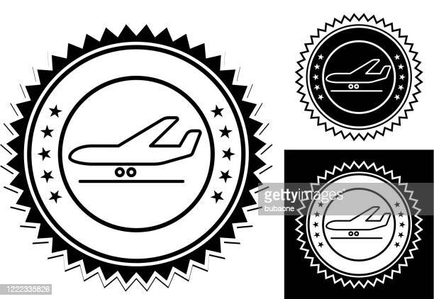 airplane on the runway icon - airfield stock illustrations