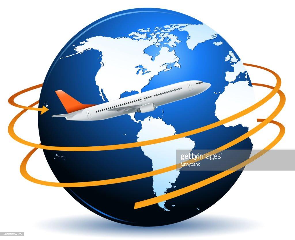 airplane on world