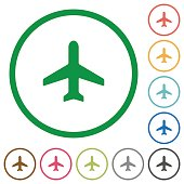 Airplane outlined flat icons
