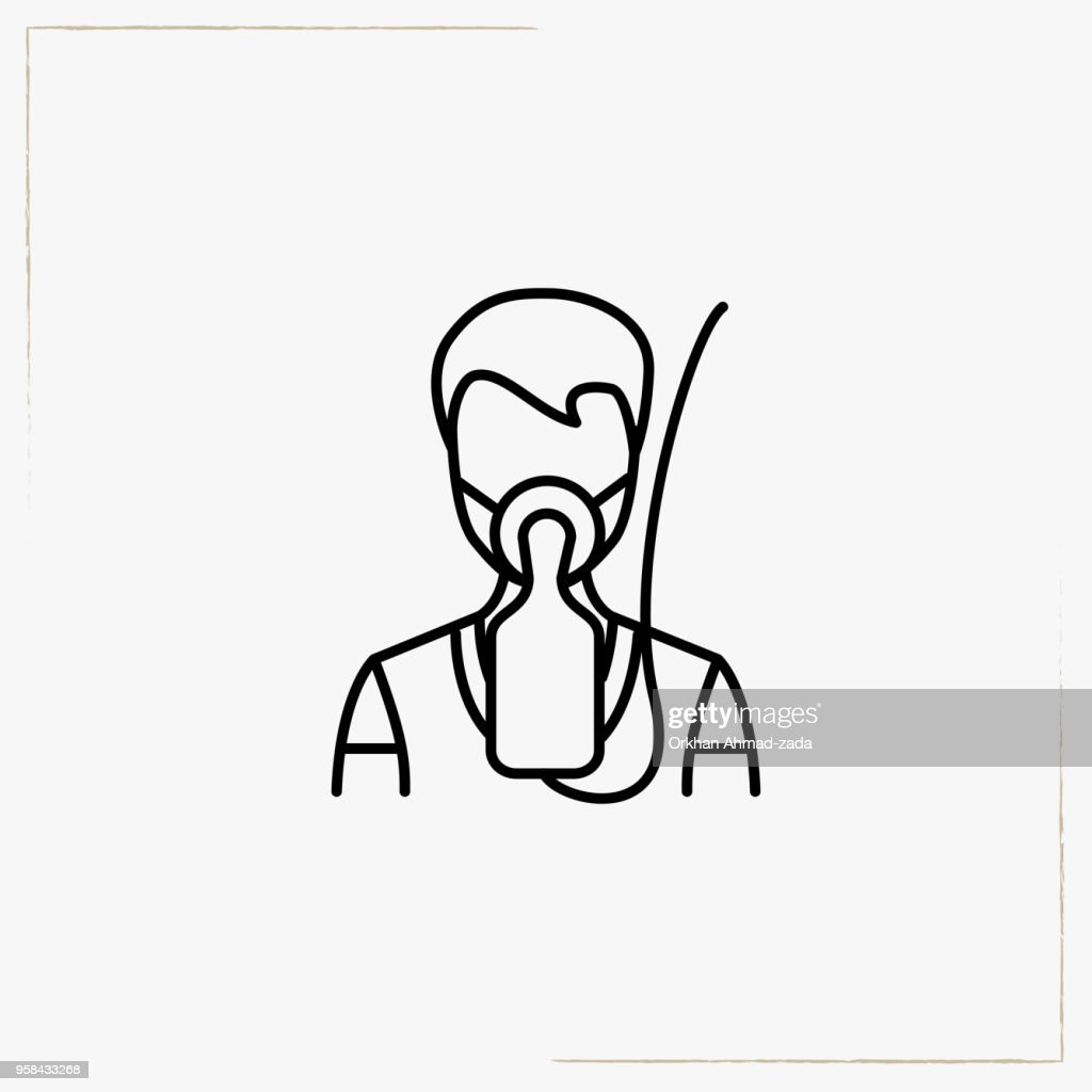 airplane oxygen mask line icon