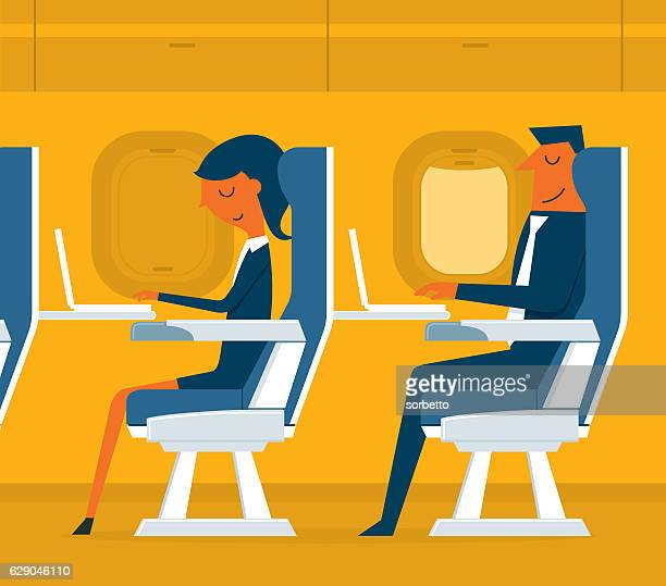 airplane passenger - business travel stock illustrations, clip art, cartoons, & icons