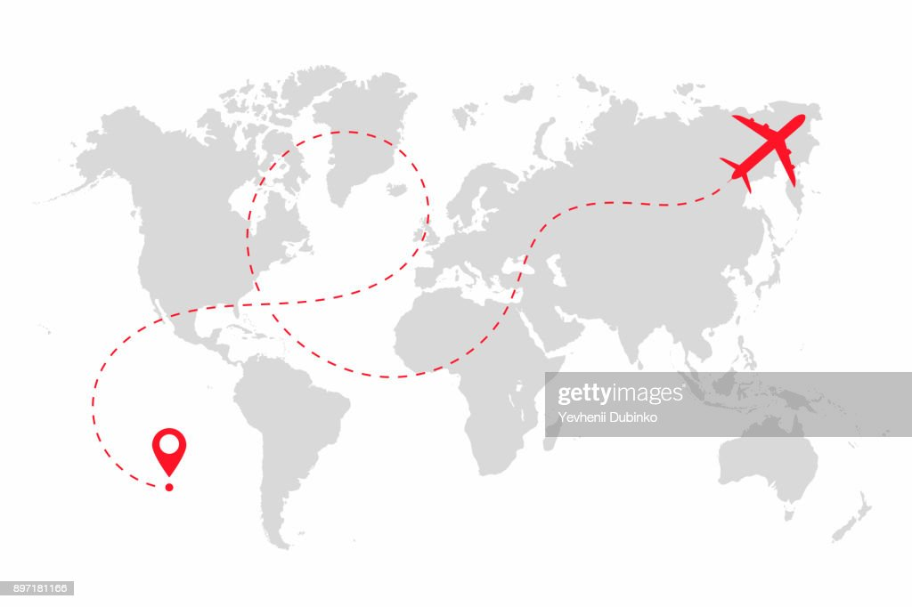 Airplane path in dotted line shape on world map. Route of plane with world map isolated on white background