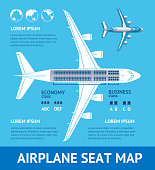 Airplane Plan Seat Map Card. Vector