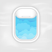 Airplane porthole with cloudscape behind the glass vector illustration. Tourism or travelling symbol. Flight passenger view. Day light of aircraft cabin. Atmosphere outside the window.