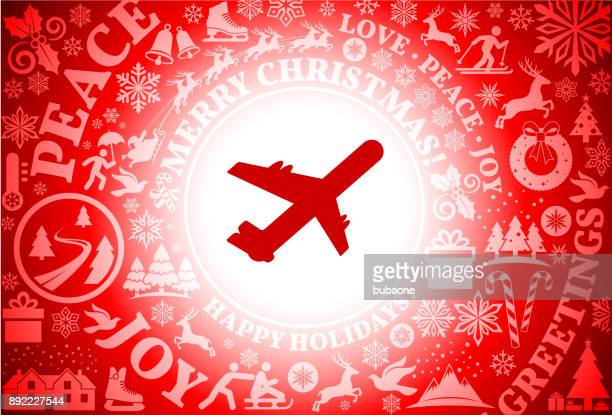 airplane  red christmas holiday background - christmas travel stock illustrations, clip art, cartoons, & icons