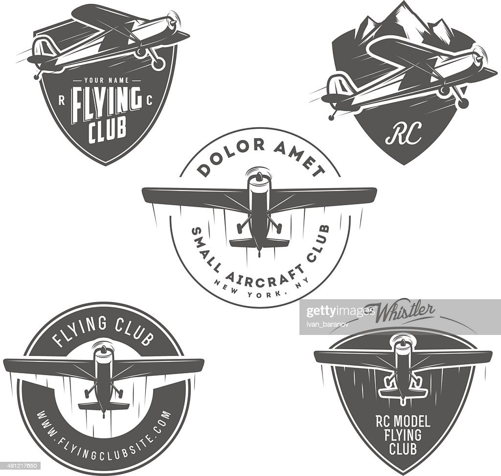 Airplane related emblems, labels and design elements
