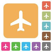 Airplane rounded square flat icons