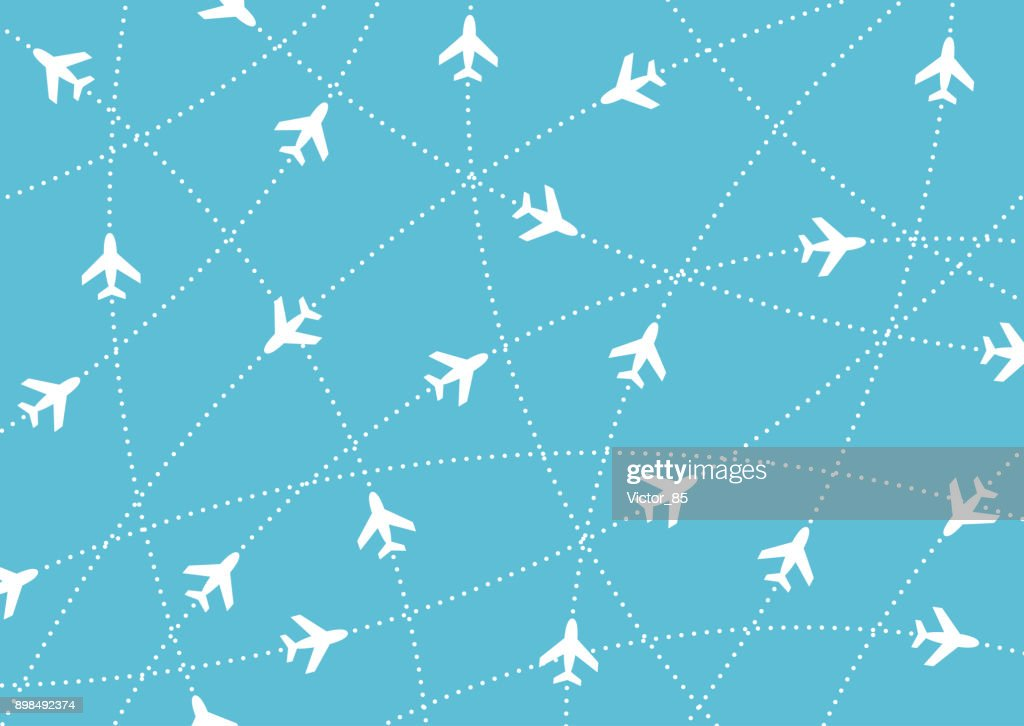 Airplane routes. Air travel. Air traffic silhouette. White airplanes isolated on blue background.
