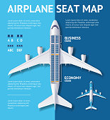 Airplane Seat Map Class Card. Vector