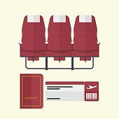 Airplane seat with passport and boarding pass in flat design