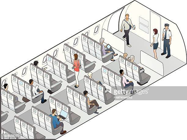 airplane seating illustration - mathisworks business stock illustrations