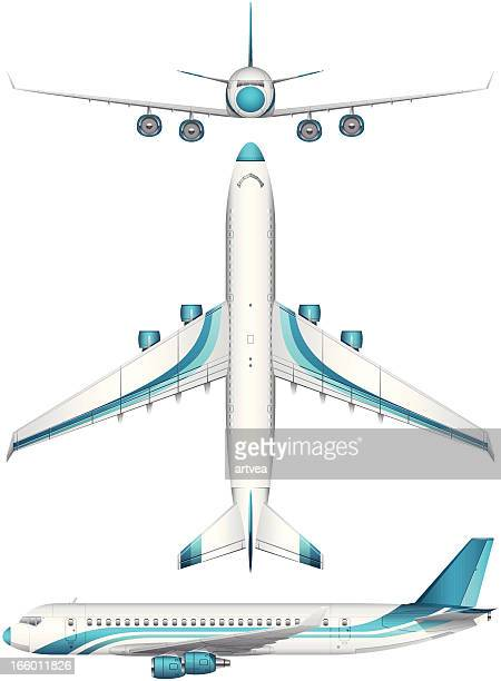 airplane set - gliding stock illustrations