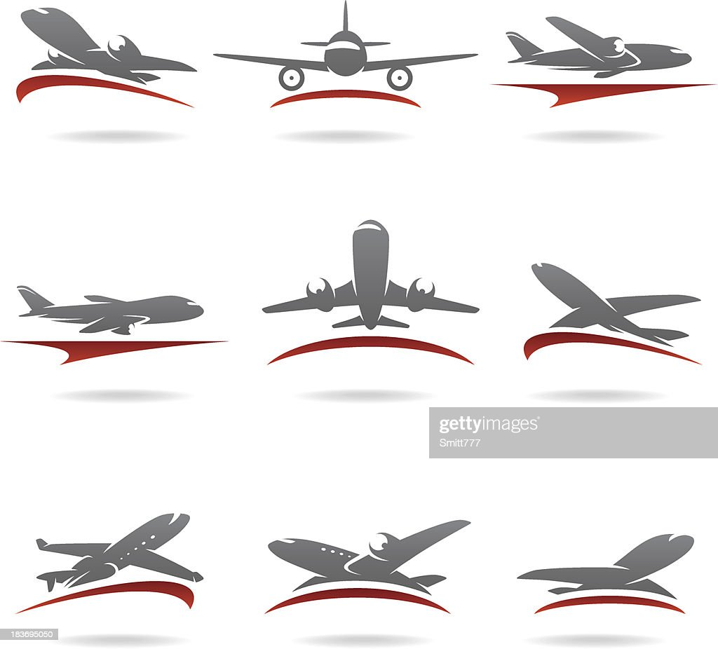 Airplane set. Vector