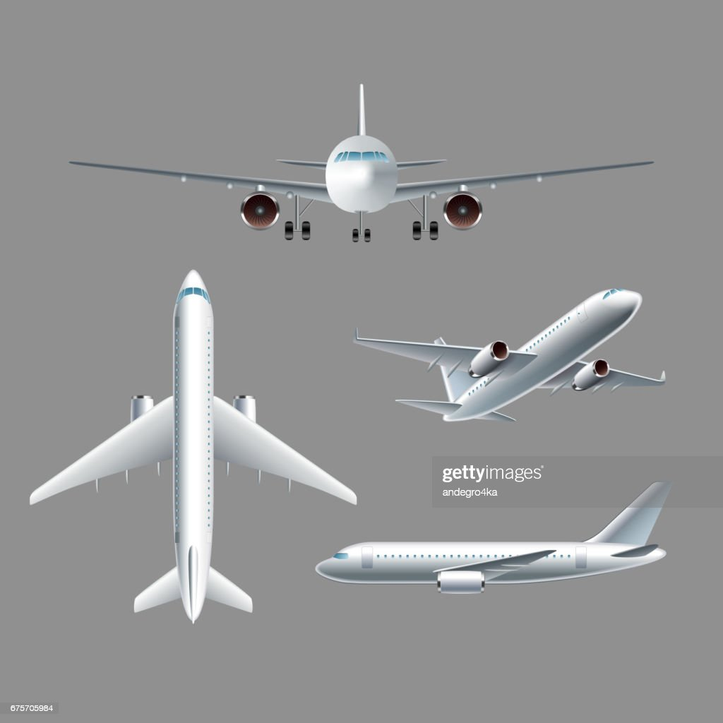 Airplane side front and top view isolated vector
