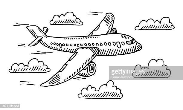 airplane sky clouds drawing - aeroplane stock illustrations, clip art, cartoons, & icons