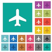 Airplane square flat multi colored icons