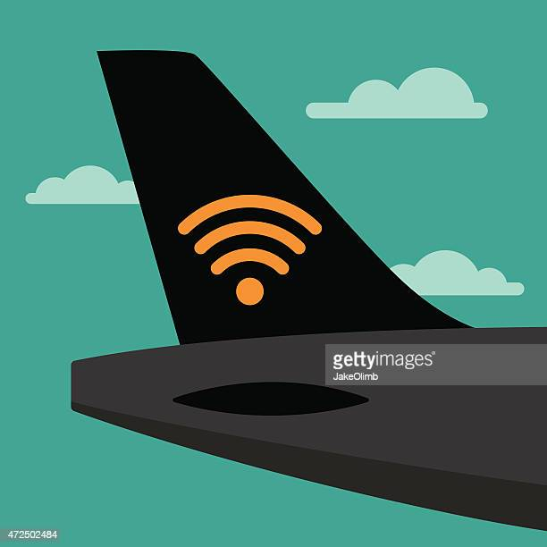 airplane tail wifi - air vehicle stock illustrations, clip art, cartoons, & icons