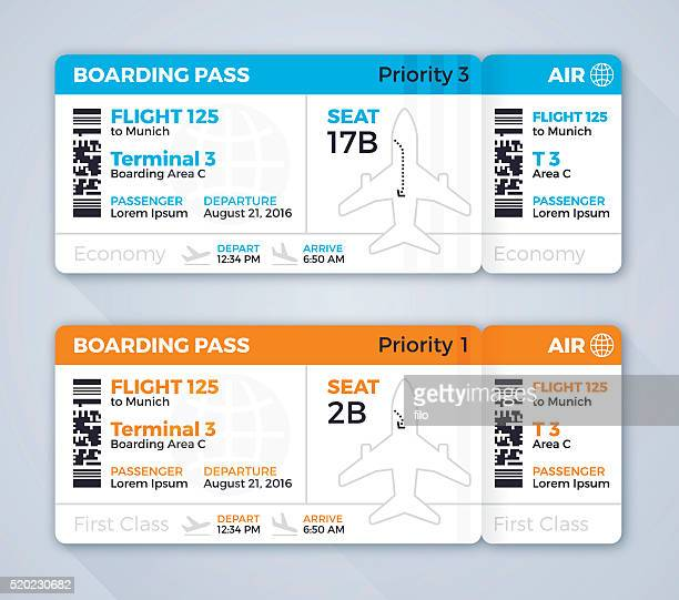 airplane ticket boarding pass - business travel stock illustrations, clip art, cartoons, & icons
