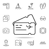 Airplane ticket icon. Element of simple icon for websites, web design, mobile app, info graphics. Thin line icon for website design and development, app development on white background