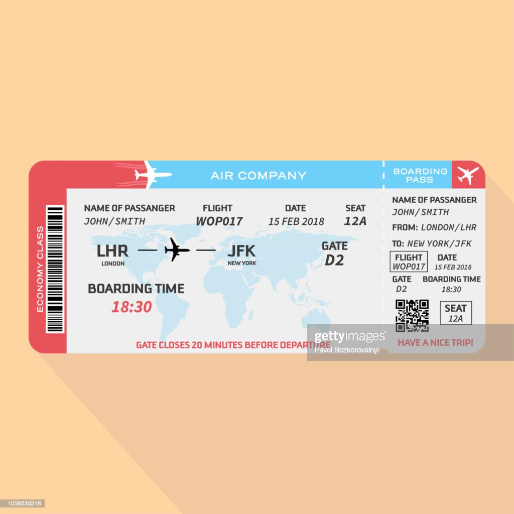 Airplane ticket in flat style. Vector