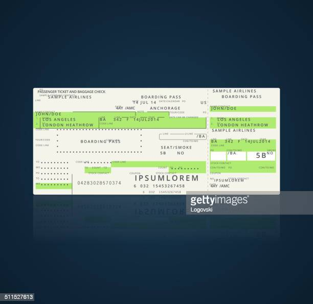 airplane ticket - boarding pass stock illustrations, clip art, cartoons, & icons