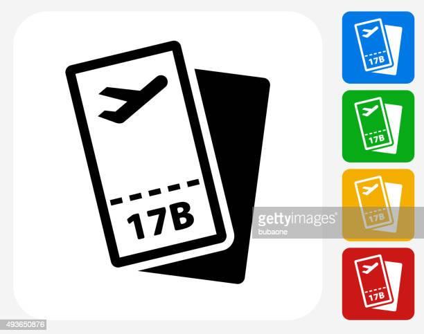 Airplane Tickets Icon Flat Graphic Design
