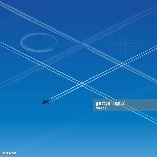 airplane trails - vapor trail stock illustrations, clip art, cartoons, & icons