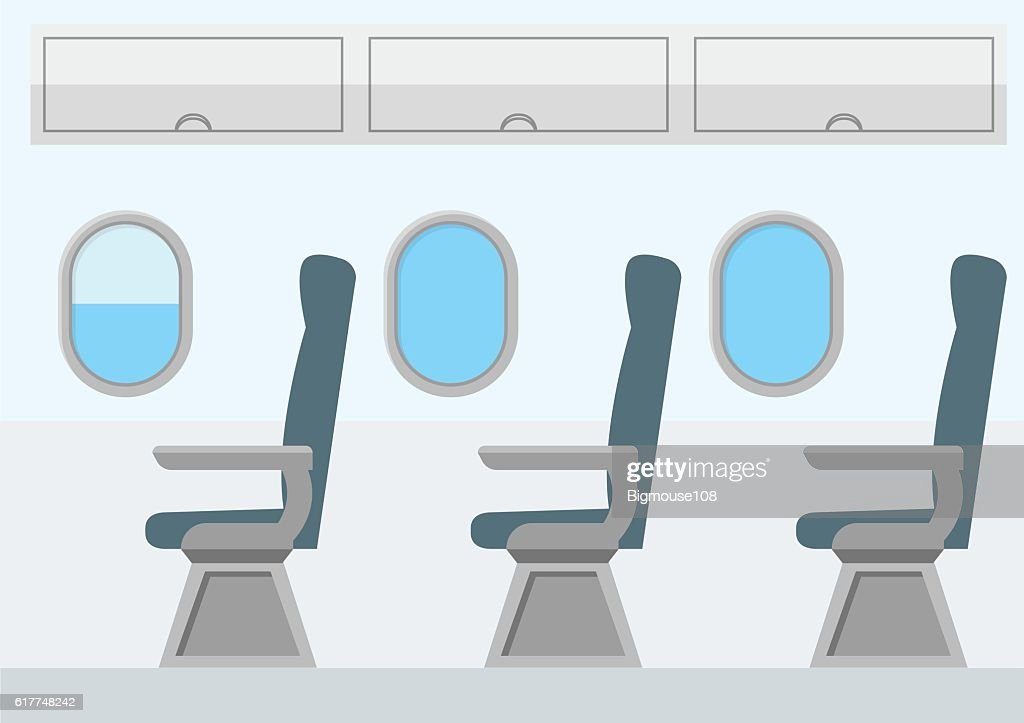 Airplane Transport Interior. Jet for Travel. Vector