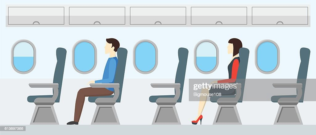 Airplane Transport Interior Retro. Travel Passengers in Jet. Vector