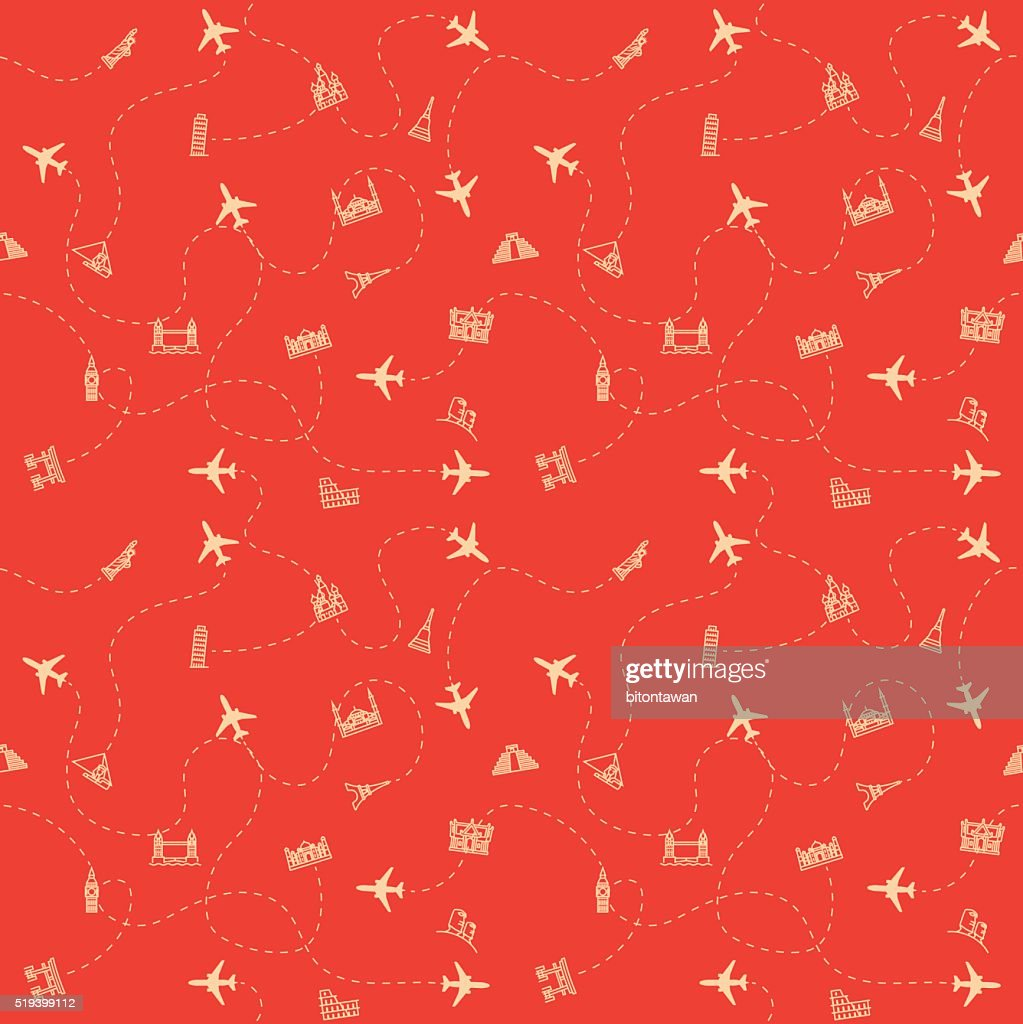 Airplane Travel and tourism locations Landmark background, card