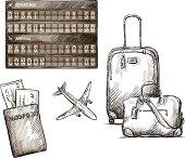 Airplane travel doodles. Hand drawn. vector illustration.