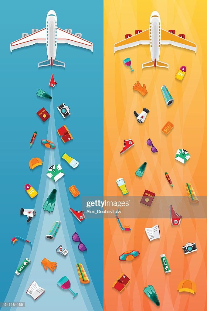 Airplane travel & tourism narrow vector banners in flat style