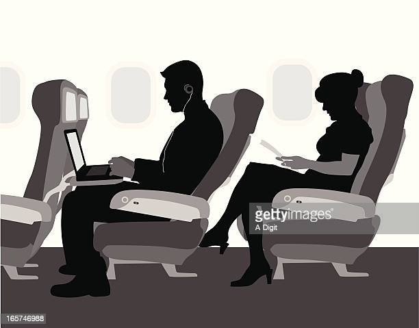 Airplane Travel Vector Silhouette