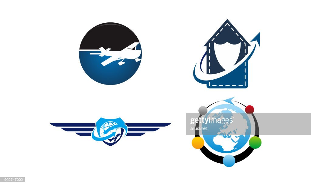 Airplane Travel Vector Template Set