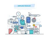 Airplane traveler. Travel people, tourism, air travel around world