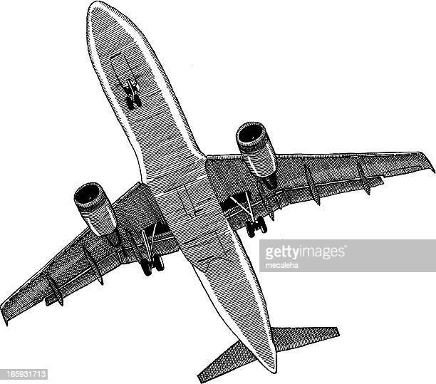 ilustraciones, imágenes clip art, dibujos animados e iconos de stock de avión - vista de ángulo bajo
