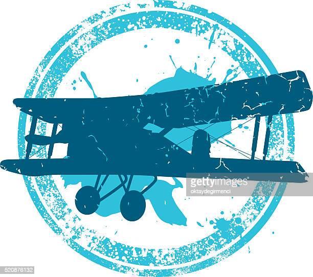 airplane - biplane stock illustrations, clip art, cartoons, & icons