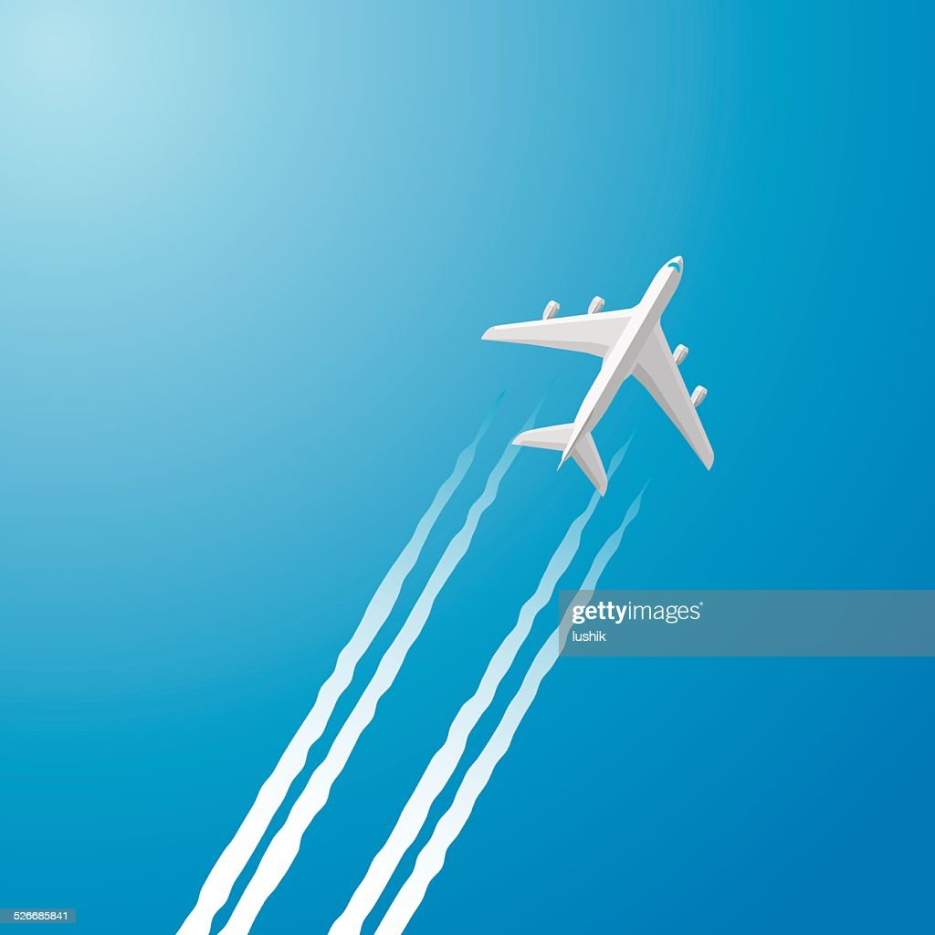 Airplane white trace : stock illustration